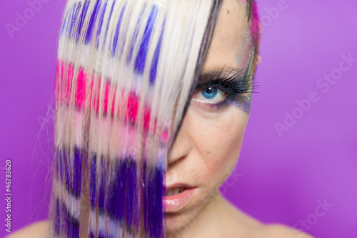 Colourful hair woman