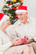 Elderly couple exchanging christmas gifts
