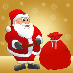 Santa Claus with a bag