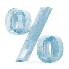 Icy Percent Sign over white background