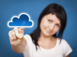 Woman accessing cloud computing system.