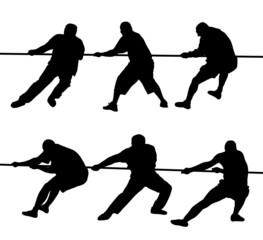 People pulling rope