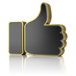 Thumbs up as perforated metal object over white background