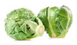 Fresh green Brussels sprouts isolated on white background