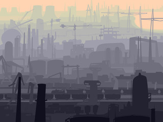 Abstract illustration industrial part of city in the morning.