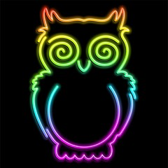 Owl Psychedelic Neon Light-Gufo Psichedelico Luce Arcobaleno