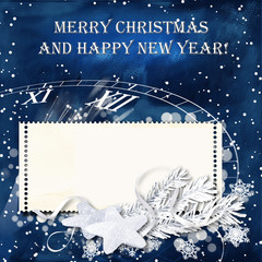 Blue Christmas snow background with stamp-frames