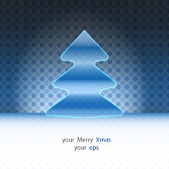 round christmas tree design blue spotted background vector card
