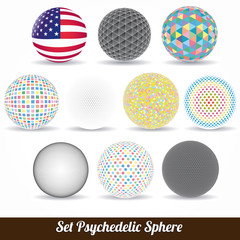 set of vector color psychedelic spheres
