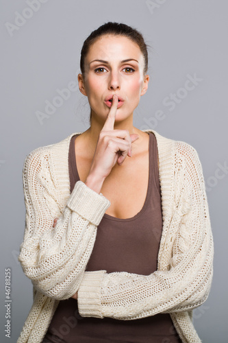 Sexy Woman Doing Silence Sign