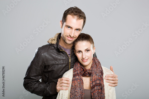 Young Cute Couple Smiling at Camera