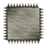 Toothed scratched metal plaque