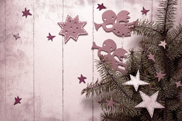 Christmas angels with the stars and christmas tree