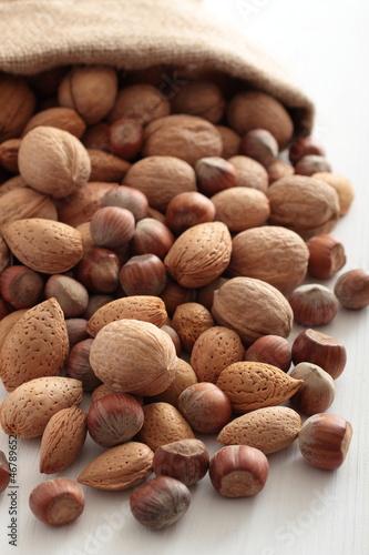 frutta secca noci nocciole mandorle su sfondo bianco