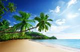 sunset on beach Anse Takamaka of Mahe island, seychelles - Fine Art prints