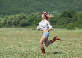 Ukrainian girl in field