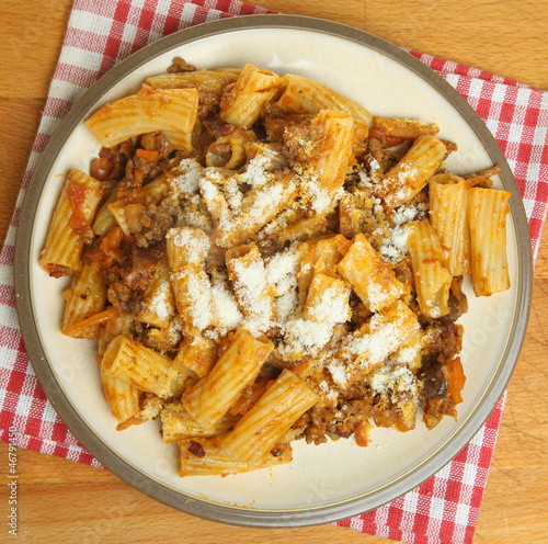 Pasta with Bolognese Sauce and Grated Parmesan