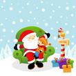 Kid Sitting On Santa's Lap waiting Christmas Gift