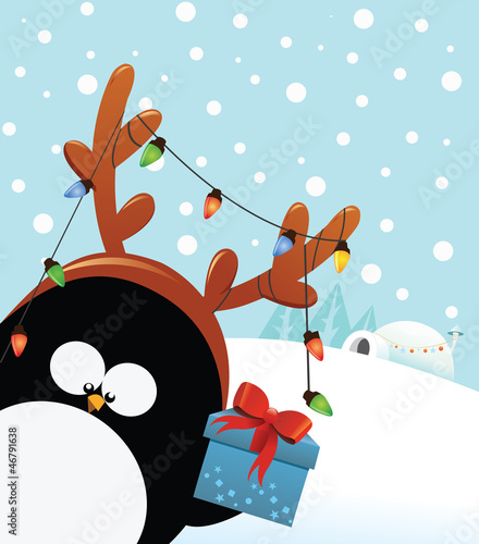 Reindeer Costumed Penguin With Gift