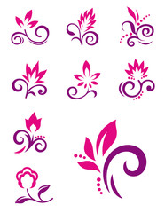 Floral elements. Vector icons of abstract flowers