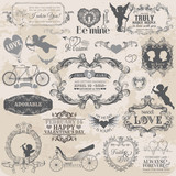 Scrapbook Design Elements - Vintage Valentine's Love Set