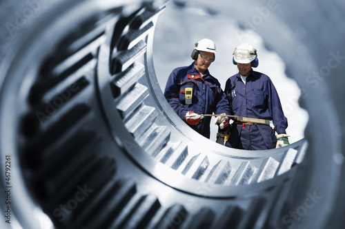 Leinwanddruck Bild engineering and machinery, blue toning version