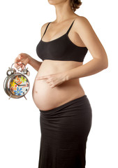 Pregnant woman belly with alarm clock
