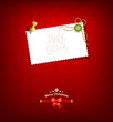 Merry Christmas paper white card message, vector