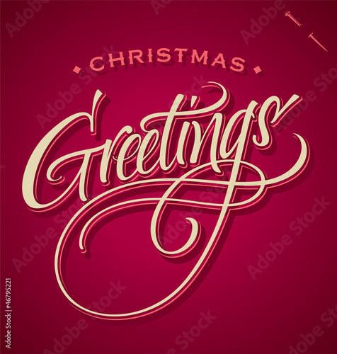 CHRISTMAS GREETINGS hand lettering (vector)