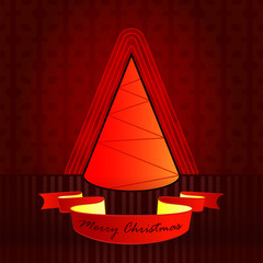 conical shape designed red brown christmas tree vector card