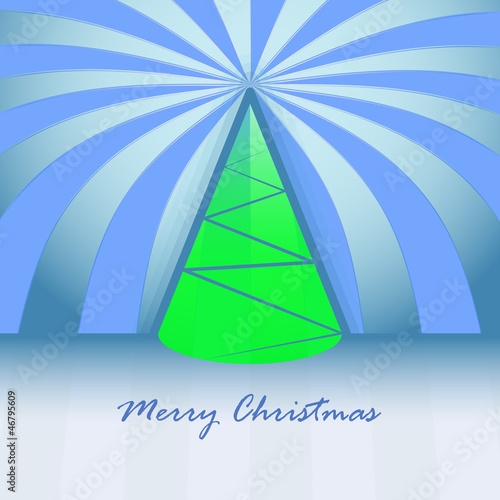 conical shape green christmas tree and striped background