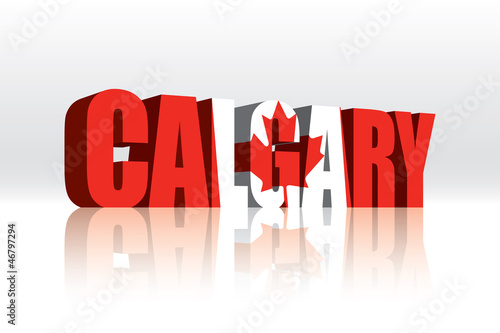 3D Calgary (Canada) Vector Word Text Flag