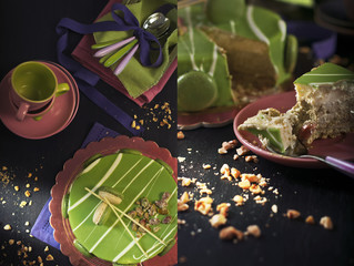 Pistachio mousse and colorful tableware