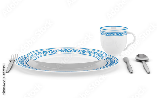 table setting with cup isolated on white background - 46797644
