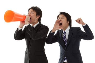 two young businessmen are cheering coworkers