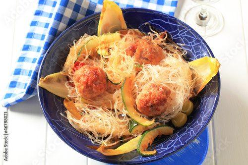 Meatballs with glass noodles