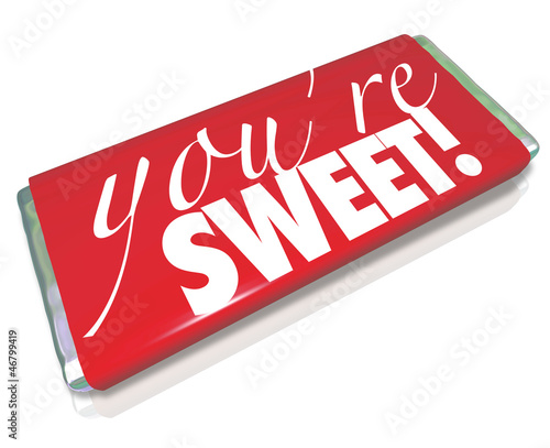 You're Sweet Words Red Candy Bar Wrapper