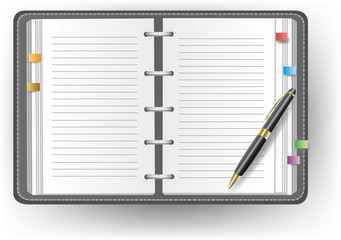 Office diary with line and a ballpoint pen