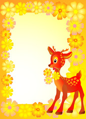Baby frame or card whit reindeer