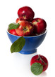 Red apples in a bowl on a white background
