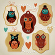 set of  label with cute owls
