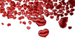 Set of red glass hearts