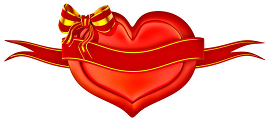 3D heart with bow and ribbon