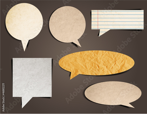 Cardboard Structure With Paper Speech Bubble, Vector