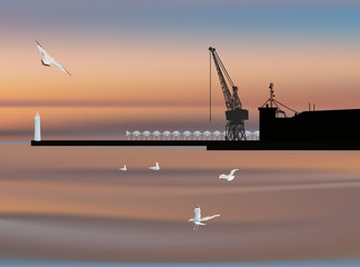 dock silhouette and gulls at sunset