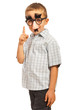 Boy with funny mask pointing
