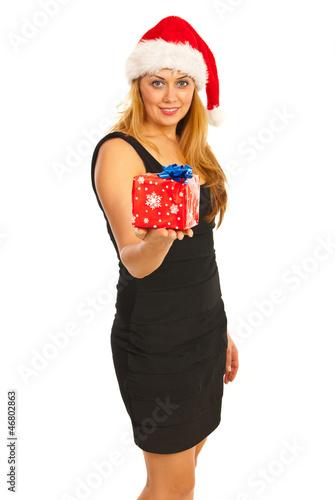 Smiling Santa woman giving gift