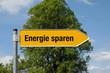 Pfeil mit Baum Energie sparen