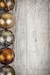 Golden Christmas ornaments border
