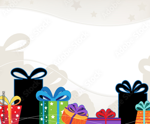 Christmas gift boxes with colored bows